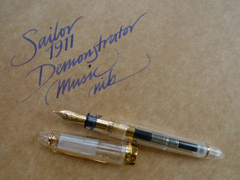 Sailor 1911 Demonstrator, music nib writing sample