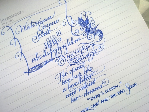 Waterman Carene stub, writing sample