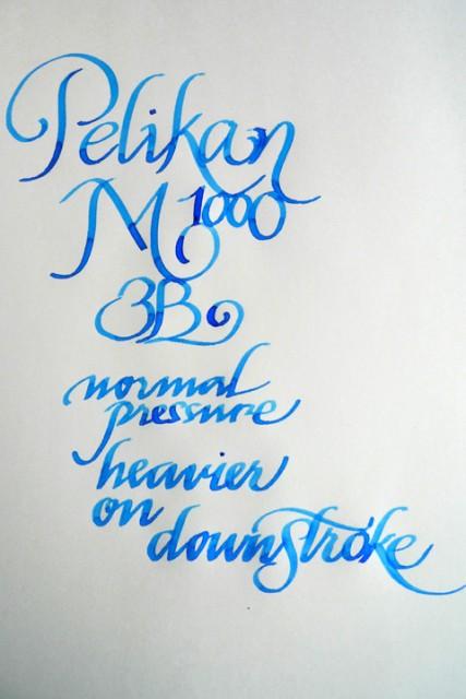 Pelikan M1000, 3B nib writing sample