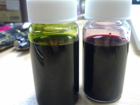 Unnecessary shot of ink bottles