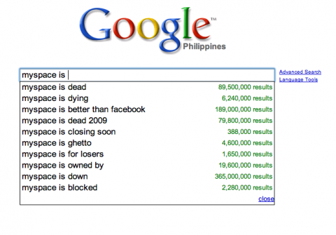 Google: myspace is