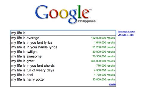 Google: my life is