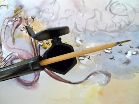 Yatate with bamboo brush