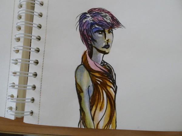 Brush pen + watercolor