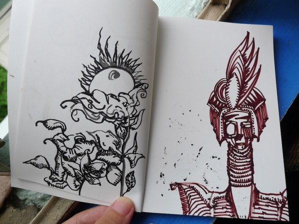 Brush pen and sharpie in stone paper notebook leigh