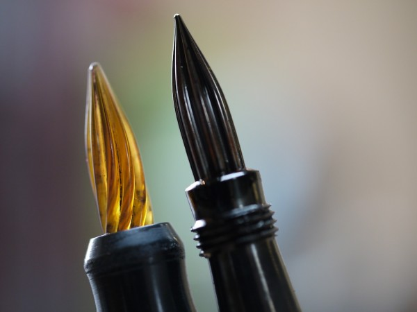 Glass nibs on crescent filler pens