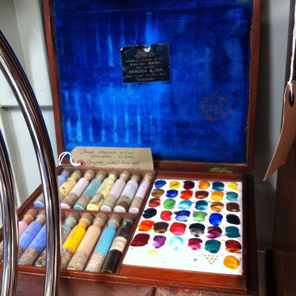 Antique watercolor pigment box set at Green and Stone