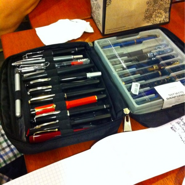 Pens arranged neatly