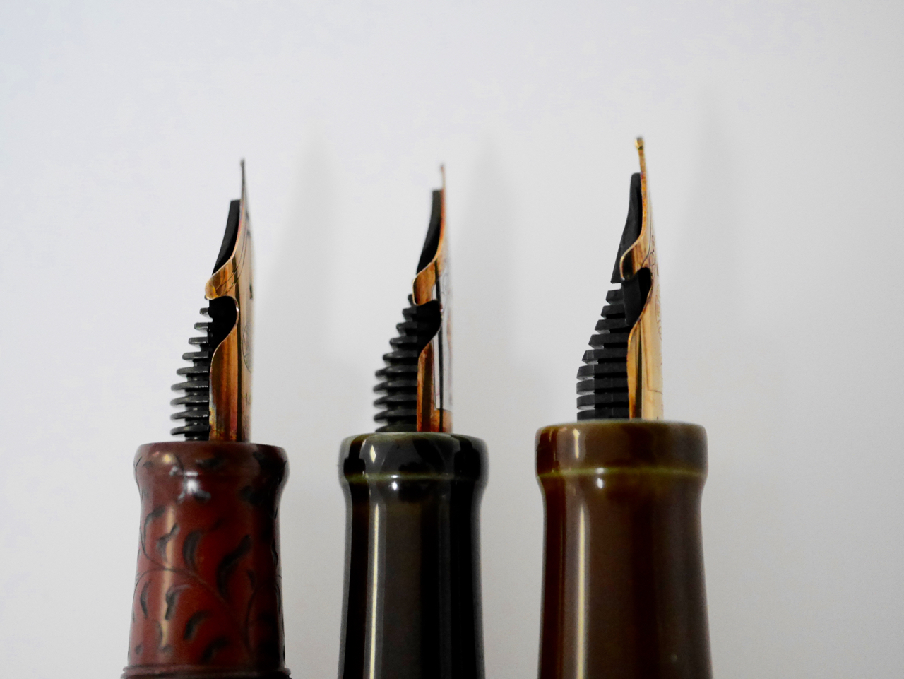 Three elastic nibs, three different (manually done!) cutouts