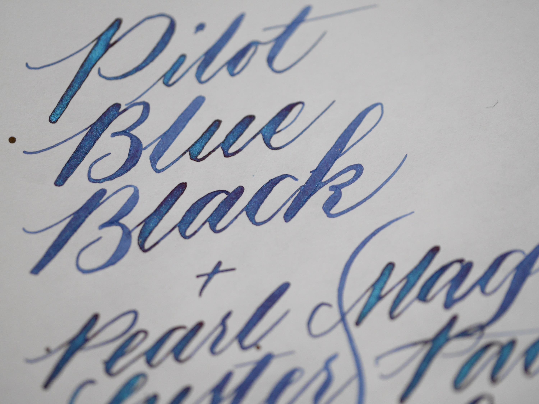 Pilot Blue Black + Pearl Luster in Magic Pacific Lagoon, Desiderata pen with Zebra G nib
