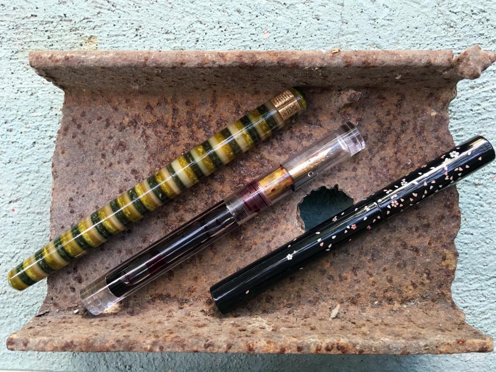 L-R: Scriptorium Pens Long Idyll, Newton Shinobi, Pen 18111 Falling Sakura