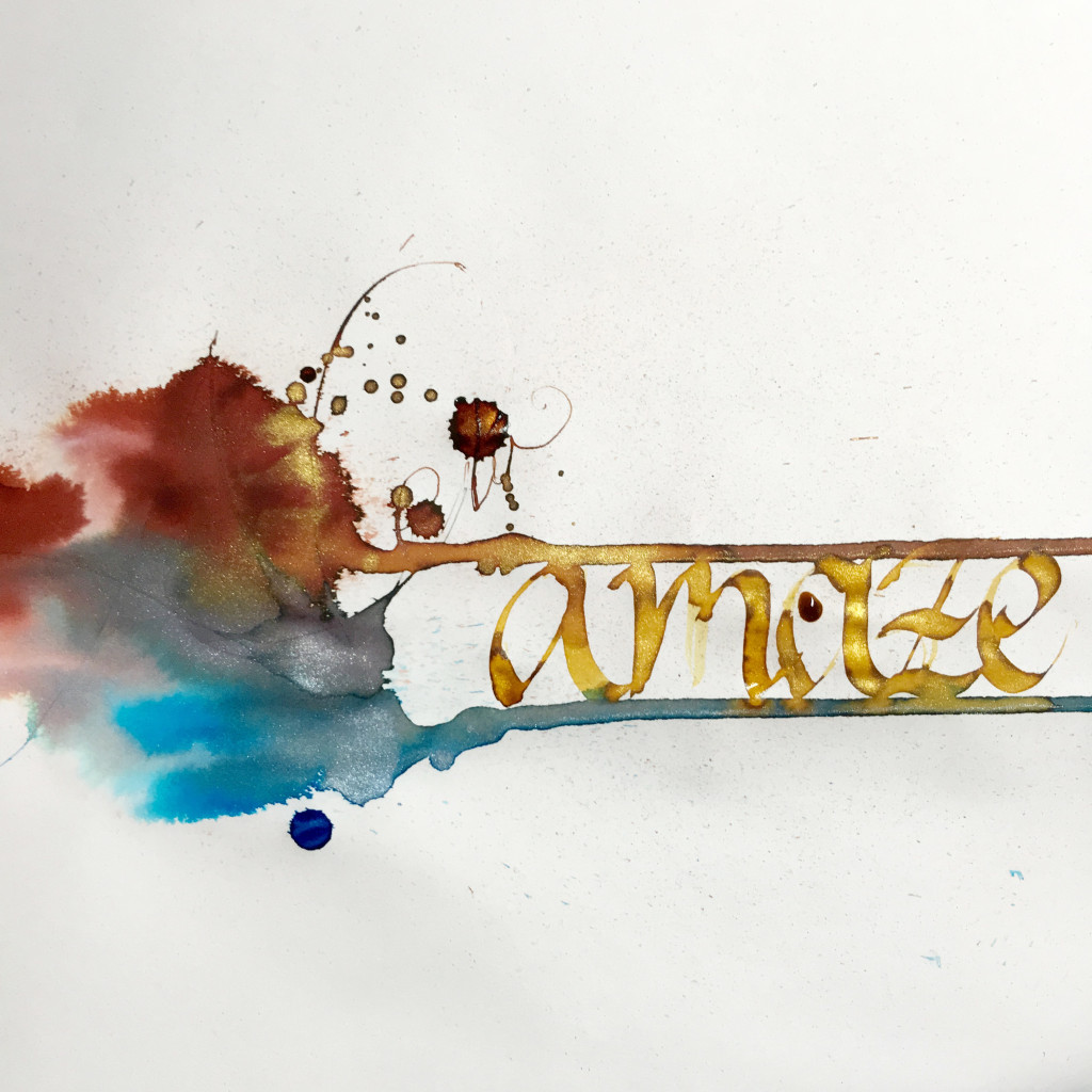 Diamine Shimmertastic Blue Lightning, Brandy Dazzle, Golden Sands