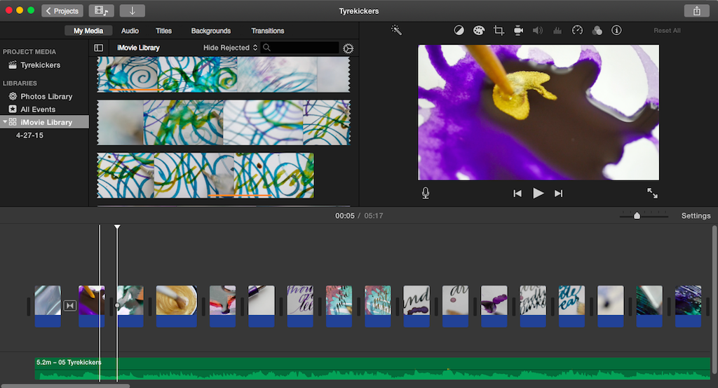 iMovie workspace for Tyrekickers