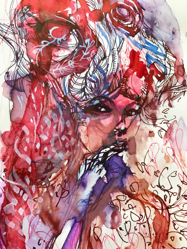 De Atramentis Document White on top of Platinum Pigment ink in Rose
