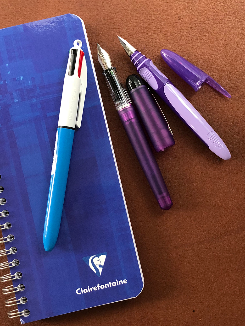 Clairefontaine notebook and two school pens