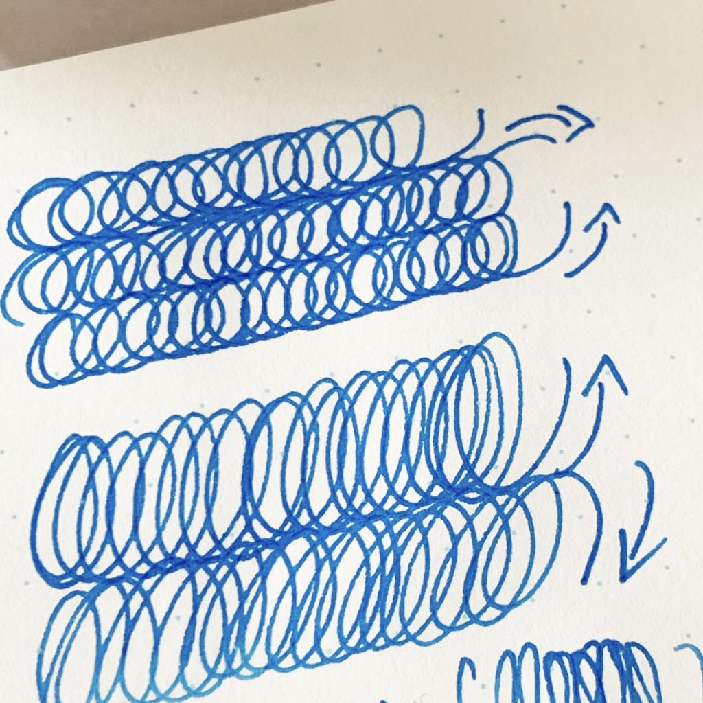 Clockwise and counterclockwise ovals on paper