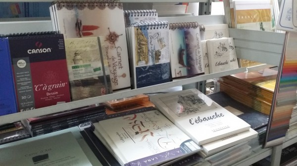 Sketchbooks on the shelf